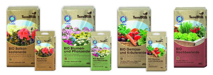 Bio Erden Hochbeet Übersicht Sortiment klimaneutral torffrei Verpackungen 45 L und 15 L